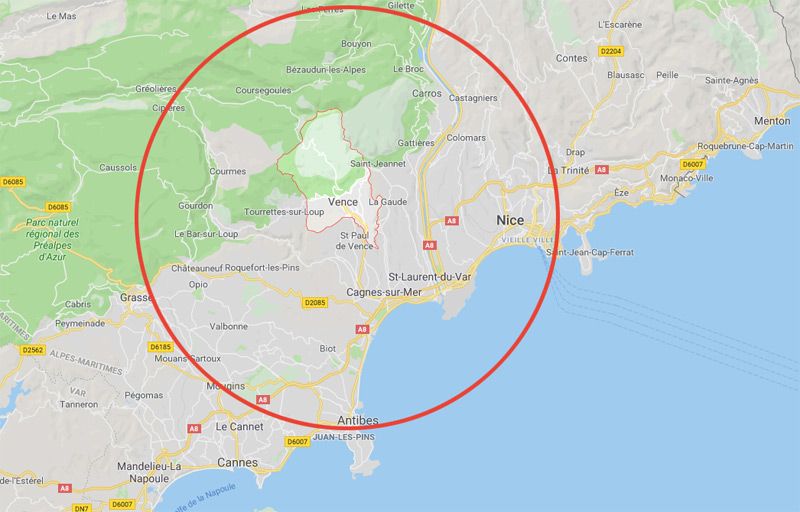 zone d'intervention de nos serruriers à Vence